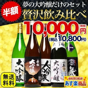 50%OFF 半額 大放出 大吟醸 飲み比べ 大吟醸だけの飲み比べセット 日本酒 税別1万円ポッキリ!(税込10,800円)夢の大吟醸【当店限定】福袋 第7弾【1800ml 5本セット】送料無料...