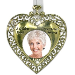 Golden Heart Bereavement Sympathy RemembranceフォトOrnament with Hangingクリスタル – メタル – 4.5インチ