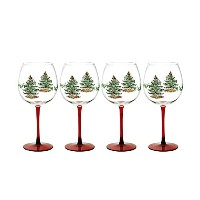 Spode Christmas Tree Glass Wine Goblet with Red Stem, Set of 4 by Spode