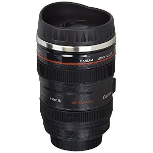 Coffee Mug - Camera Lens Travel Thermos - Stainless Steel Insulated Cup with Easy Clean Lid - 13...