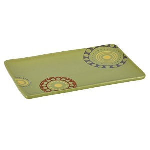 Rachael Ray Stoneware 12-3/4-Inch x 8-1/4-Inch Circles and Dots Rectangular Serving Platter by...