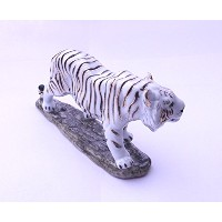 Feng Shui Tiger- Hand Crafted and Decorated Porcelain, Figurine 110118. (White)