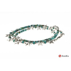Sanku-39 Star Beads Necklace Sv Star&Turquoise Beadsr / SK-143 MADE.IN.JAPAN