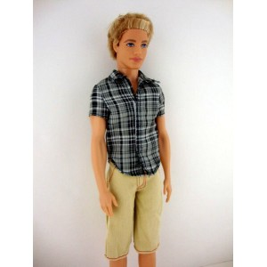 バービー ケン 着せ替え用/洋服 Ken2 (2 Pc Men's Outfit Blue Plaid Short-sleeve Shirt with Tan Shorts Made to Fit...