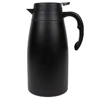 Thermal Carafe – Largeステンレススチールコーヒー魔法瓶withの断熱真空Hot and Cold Brew – ブラックピッチャー蓋、簡単non-drip Press to...