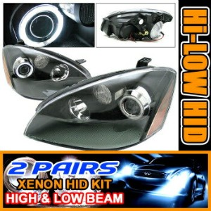 Nissan Altima ヘッドライト For 2 Sets HID 02-04 Nissan Altima CCFL Halo Projector Headlights Lamps...