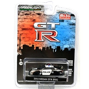 """GREENLIGHT 1:64SCALE """"MiJo EXCLUSIVE"""" -2015 NISSAN GT-R (R35) BLACK CHROME POLICE グリーンライト 1:64スケール..."""