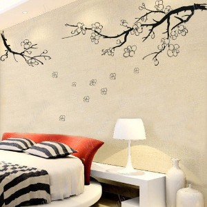 Custom PopDecals - Plum flower in winter - Beautiful Tree Wall Decals for Kids Rooms Teen Girls...