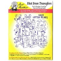 Lots of Teddy Bears Aunt Martha's Hot Iron Embroidery Transfer by Aunt Martha's