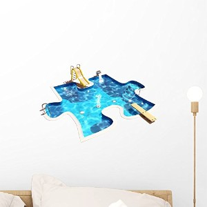 Wallmonkeys WM175044 Pool in the Form of a Puzzle 3D Illustration of a Swimming Pool Peel and Stick Wall Decals (18 in W x 13 in H) by Wallmonkeys Wall Decals