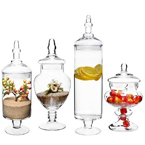 ( Set of 4)大きいクラシッククリアガラス蓋Apothecary Jars / Candy Buffet /ウェディングCenterpiece–MyGiftホーム