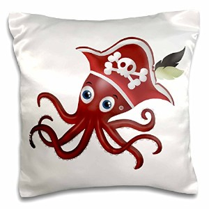 3dローズAnne Marie Baugh – Pirates – レッドandホワイトPirate Octopus with a hat illustration – 枕ケース 16x16...