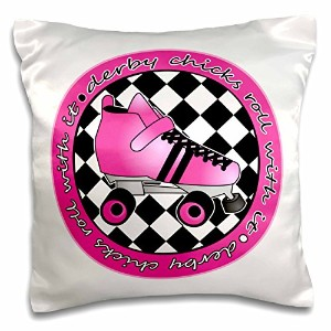 Janna Salak Designs Roller Derby – Derby Chicks Roll with Itホットピンクローラースケートandホワイト – 枕ケース 16x16 inch...