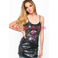 【即納】Ed Hardy Love Kills Slowly Sequined Spaghetti Strap Dress 【Ed Hardy】【EDH-DR-RSQJ014LKS-BK】
