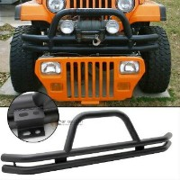 Jeep Wrangler グリル 76-06 Jeep Wrangler Front Grille Guard Black Powder Coated Stainless Steel Guard...