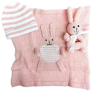 Estella goft-bunny-pk Hand Knit Bunny Organic Cotton Newborn Baby Girl Gift Set by Estella,...