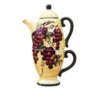 Tuscany Grape wine Decor TEA POT & CUP For One / Me by ACK