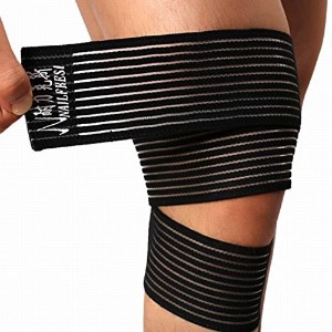 Nailekesi Knee Guard Safety Protector Calf Leg Support Band Twine - Black - 115*7.5cm/45.27*2.95inch by Nailekesi