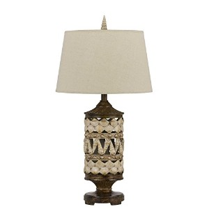 Cal Lighting Earth Seashell Table Lamp, 31, Pearl White by Cal