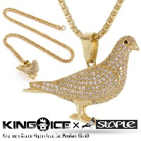 KING ICE キングアイス KING ICE X STAPLE PIGEON ICED OUT PENDANT メンズ レディース 秋冬 ネックレス 14Kゴールド ONE SIZE