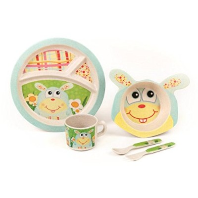 Bamboo Meal Set / Plate set / Dinner set by Green Frog Friends, Eco-friendly Bamboo Dishes, feeding Set for toddlers and Little Kids, Boys and Girls Bunny Character by Green Frog