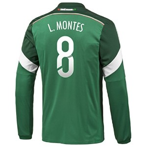 Adidas L. MONTES #8 Mexico Home Jersey World Cup 2014 (Long Sleeve)/サッカーユニフォーム メキシコ ホーム用 長袖...