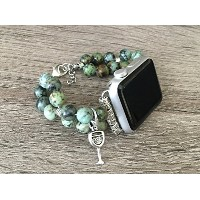 African Turquoise Stones Bracelet For Apple Watch Series 1 2 & 3 (38mm) Handmade Natural Jasper...