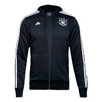 adidas Mens Germany 3 Stripes Full Zip Hoodie (Black/White)/サッカー ドイツ パーカー (US-Size-X-Large)