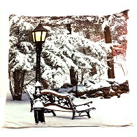 OSW Snowy Park Bench LED枕Light Up Throw枕6で1時間タイマーホーム休日の装飾アート