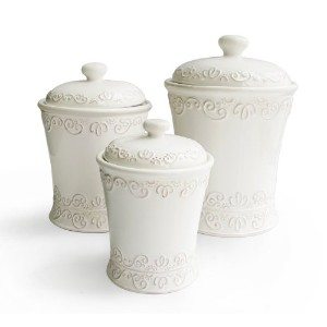 American Atelier Bianca Scroll Cookie Jar, White, Set of 3 by American Atelier