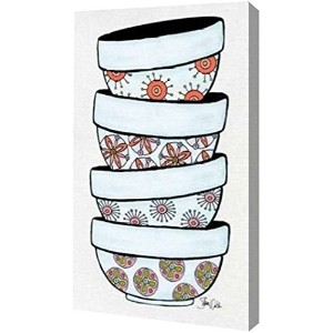 """Mixing Bowls I by Shanni Welsh–ギャラリーWrapped Gicleeキャンバスアートプリント–Ready To Hang 12"""" x 20"""" GW-POD..."""