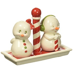 "Department 56 Snowpinions "" His & Hers ""磁器3ピースクリスマス塩&コショウシェーカーセット、2.8 """