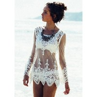 Women Lace Floral Translucent Sexy Gauze Shirts Long Sleeve Embroidered Beach Blouse Tops