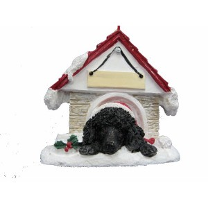 Poodle Ornament Black A Great Gift For Poodle Owners Hand Painted and Easily Personalized Doghouse Ornament With Magnetic Back by E&S Pets