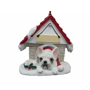 French Bulldog, White Ornament A Great Gift For French Bulldog, White Owners Hand Painted and Easily Personalized Doghouse Ornament With Magnetic Back by E&S Pets