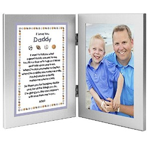 Sports Themed Gift From Son - Sweet Poem to Daddy From Boy - Add Photo to Double Frame by Poetry Gifts