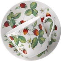Roy Kirkham Alpine Strawberry Breakfast Cup & Saucer In Fine Bone China