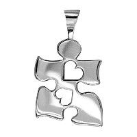 Autism Awareness Puzzle Pieceチャームwith 2Open Hearts inスターリングシルバー、20mm
