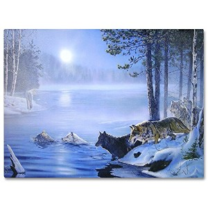 Wolves LED照明付きMoonキャンバス印刷ホームデコレーション – Wolves crossing a Frozen River In Snowy Winter Forest – 16 x...