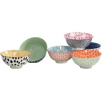 Certified International Chelsea Mix and Match–Small Coloredセラミックデザートボウルセット、1.5カップ容量