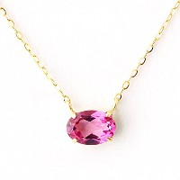 One&Only Jewellery 1ct 天然 ピンクトパーズ K18 ペンダント ネックレス 11月誕生石