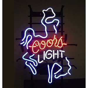 Coors Light Cowboy RealガラスビールバーパブStore Decor Neon Signs 19x 15