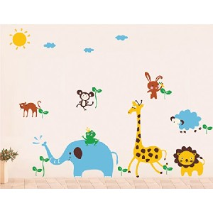 Pop Decors Removable Vinyl Art Wall Decals Mural, Cute Animals in The Jungle by Pop Decors