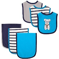 Hudson Baby 6 Piece Bib and Burp Cloth Set, Dog by Hudson Baby