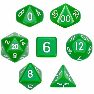 7Die Polyhedral Dice Set–ソリッドグリーンwithベルベットポーチby Wiz Dice