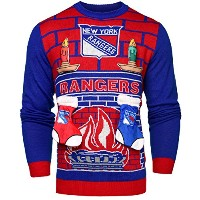 NHL New York Rangers Unisex NHL Ugly 3dセーター、スモール