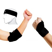 1 Cotton Sport Stretchable Headband, 1 Thumb Assisted Wrist Strap and 1 Elbow Brace Strap (ST4) for...