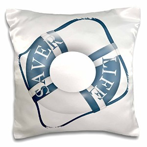 3dローズAnne Marie Baugh – Ocean – ブルーとホワイト出荷Life Preserver – 枕ケース 16x16 inch Pillow Case pc_235677_1