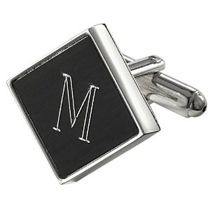 Visol Grove PersonalizedブラックMatte Cufflinks with Engraved Letter M