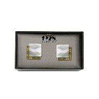 14K Gold Dipped Mother of Pearl Square Cuff Links